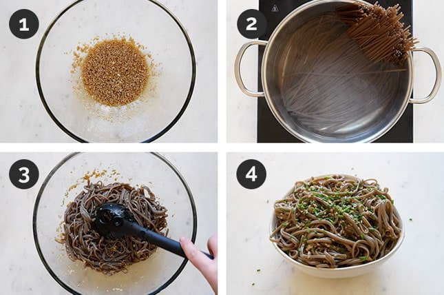 Step by step photos of how to make sesame soba noodles