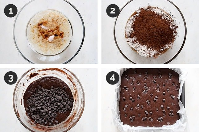 Step by step photos of how to make vegan brownies