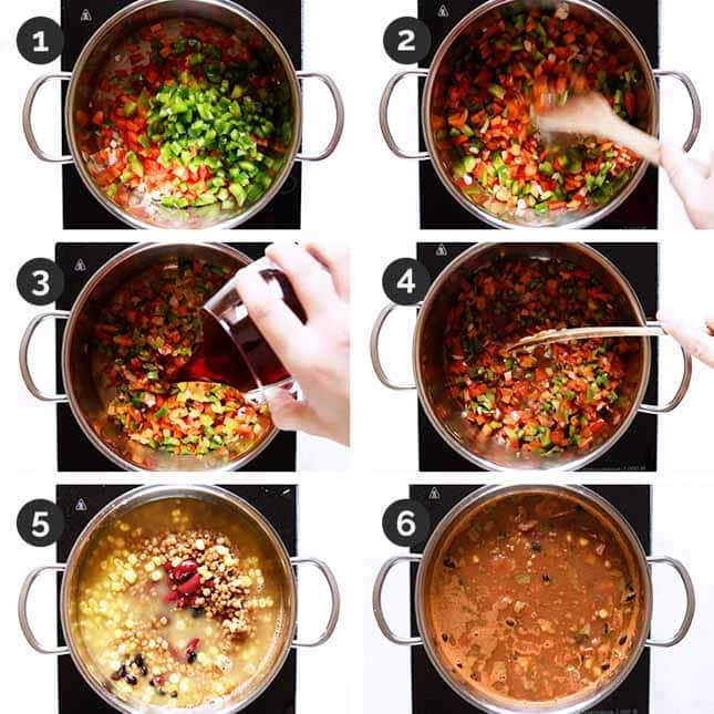 Step by step photos of how to make vegan chili