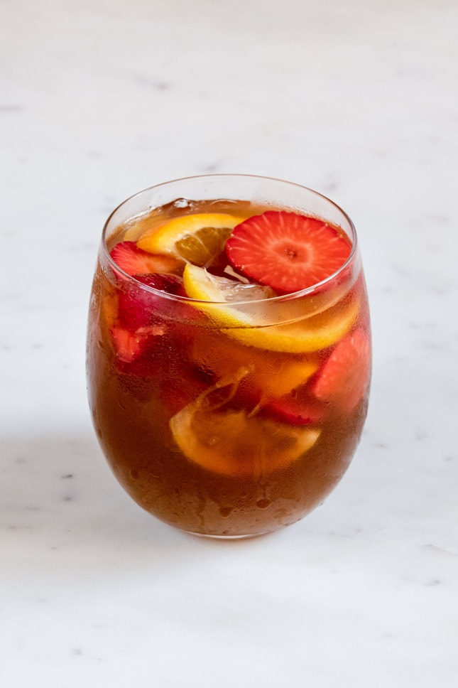 A picture of a glass with homemade white sangria