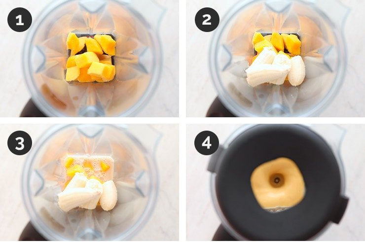 Step by step pictures of how to make mango smoothie