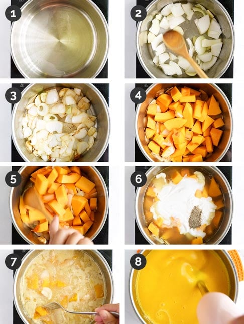 Step-by-step photos of how to make pumpkin soup