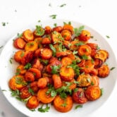 Photo of a plate of homemade roasted carrots