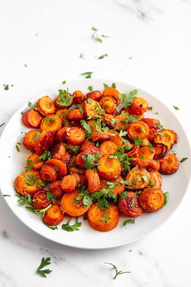 Photo of a plate of roasted carrots