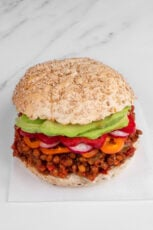 Photo of a sandwich of vegan sloppy joes