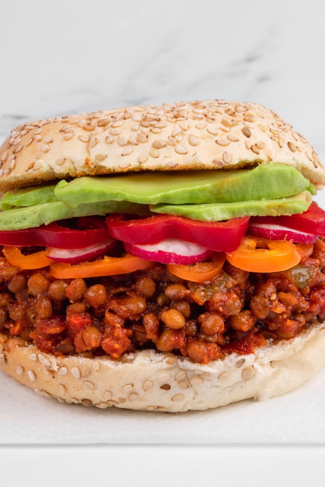 Close-up shot of a sandwich made of vegan sloppy joes