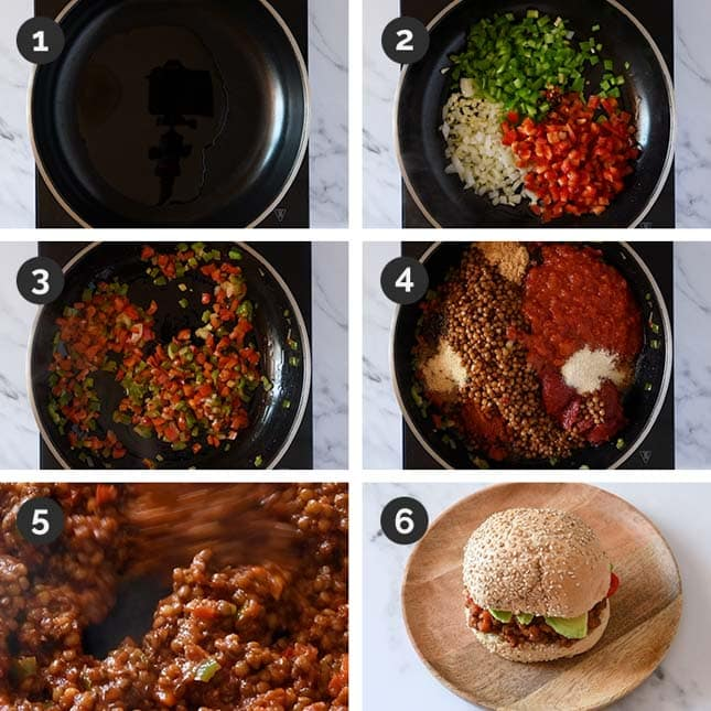 Step-by-step photos of how to make vegan sloppy joes