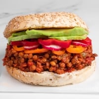 Square photo of a sandwich made of vegan sloppy joes