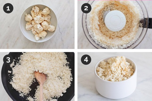 Step by steps photos of how to make cauliflower rice from scratch