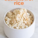 A shot of a bowl with cauliflower rice with the sentence hot to make cauliflower rice