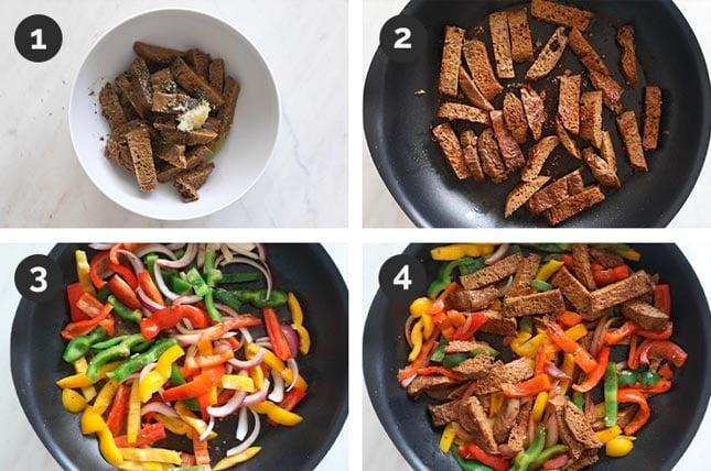 Step by step photos of how to make vegan fajitas