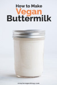A side shot of a glass with vegan buttermilk with the words how to make vegan buttermilk