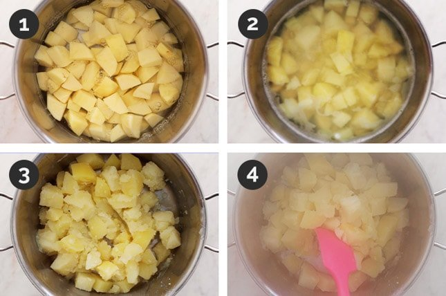 Step by step photos of how to make vegan mashed potatoes from scratch