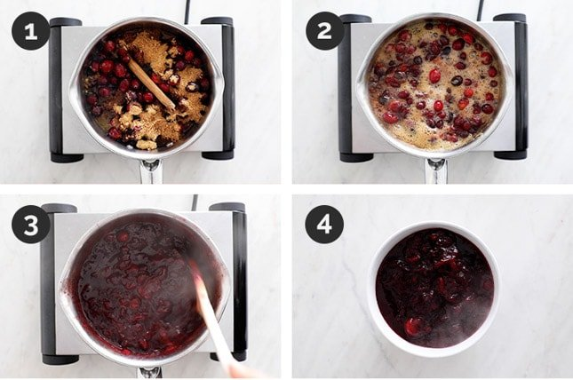 Step-by-step photos of how to make cranberry sauce
