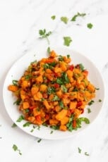 Photo of a plate of homemade sweet potato hash
