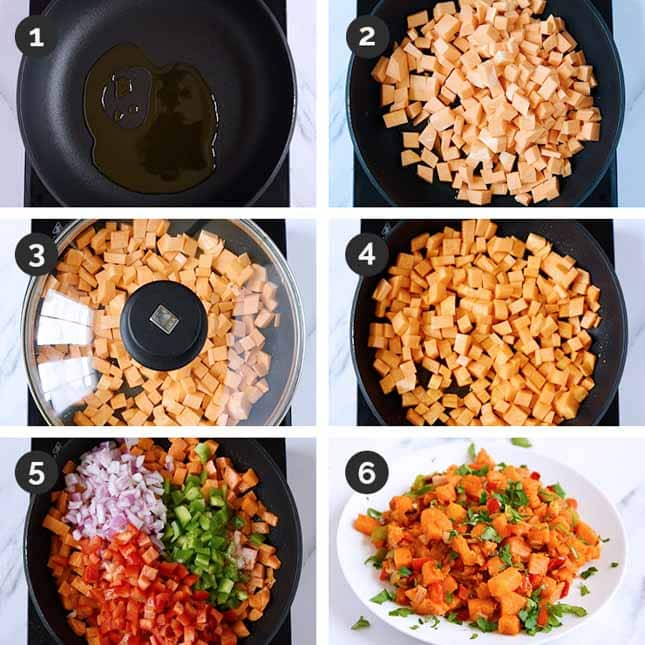 Step-by-step photos of how to make sweet potato hash