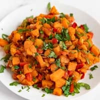 Square photo of a plate of sweet potato hash