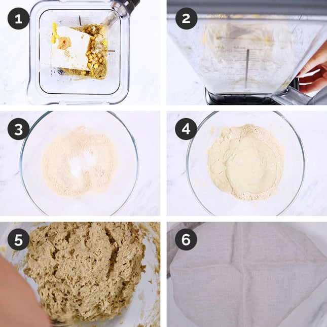 Photo of the first 6 steps of how to make vegan turkey