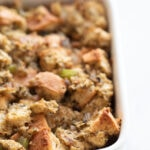 A picture of a baking dish with cegan stuffing made from scratch