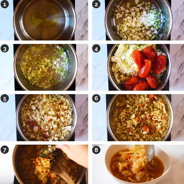 Step-by-step photos of how to make cabbage soup
