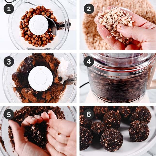 Step-by-step photos of how to make energy balls