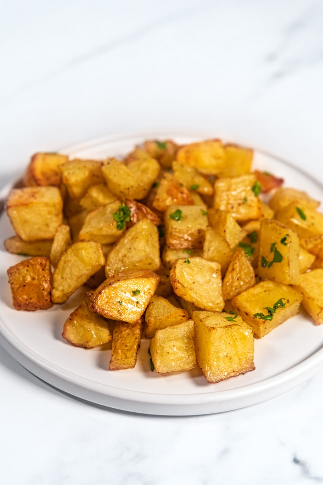 Photo of a plate of roasted potatoes