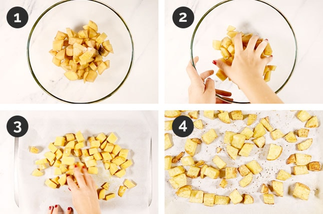 Step-by-step photos of how to make roasted potatoes