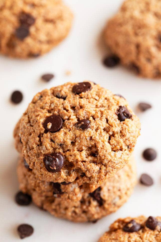 Photo of a pile of vegan chocolate chip cookies