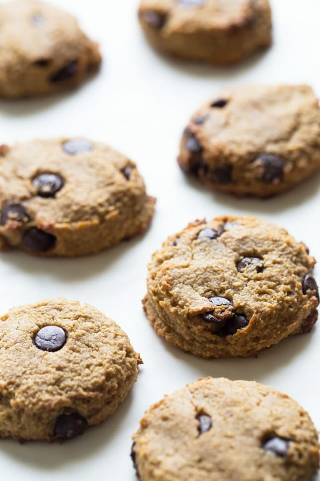 Photo of some vegan peanut butter chocolate chip cookies