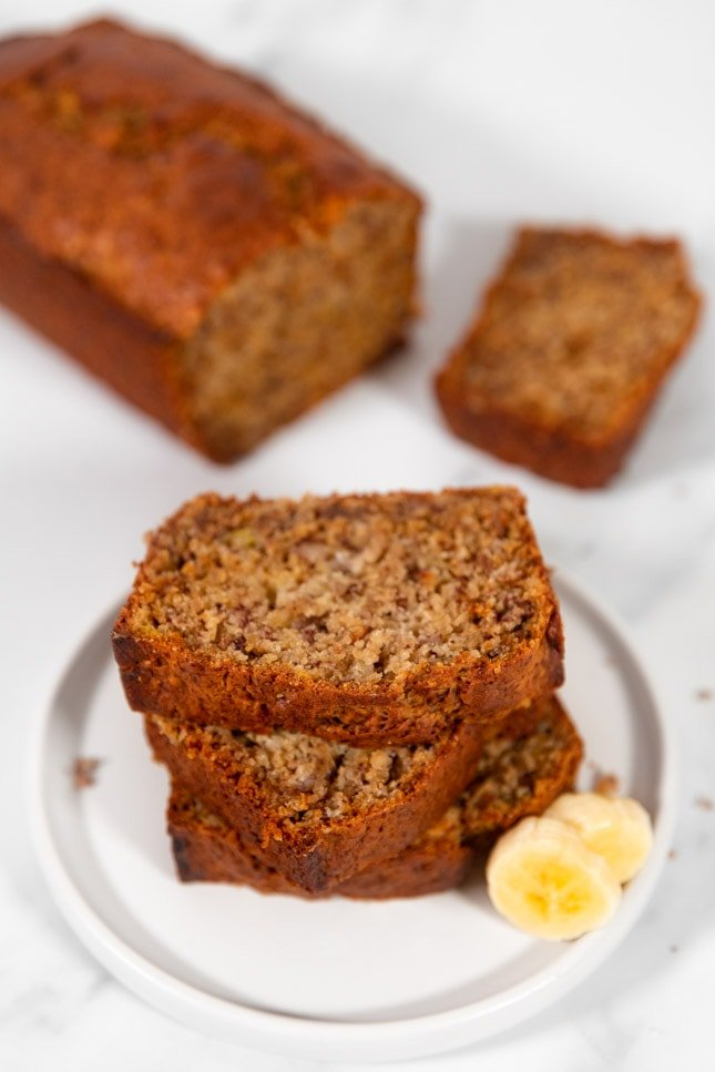 Photo of some slices of vegan banana bread