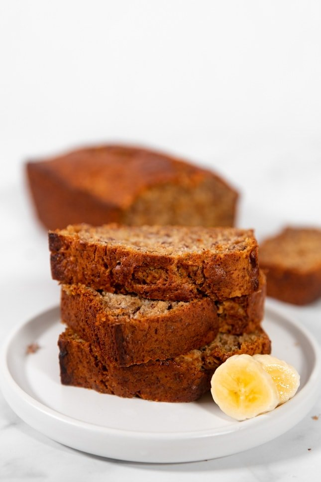 Side shot of some slices of vegan banana bread