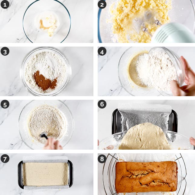 Step-by-step photos of how to make vegan banana bread
