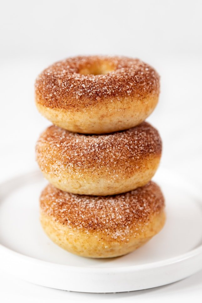 Side shot of a pile of vegan donuts