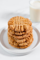 Photo of a pile of homemade vegan peanut butter cookies
