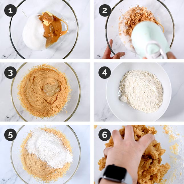 Photo of the first 6 steps of how to make vegan peanut butter cookies