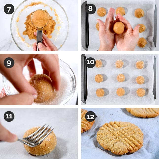 Photo of the last steps of how to make vegan peanut butter cookies