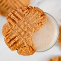 Square photo of a vegan peanut butter cookie