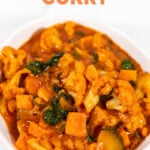 Photo of a bowl of vegetable curry with the words vegetable curry