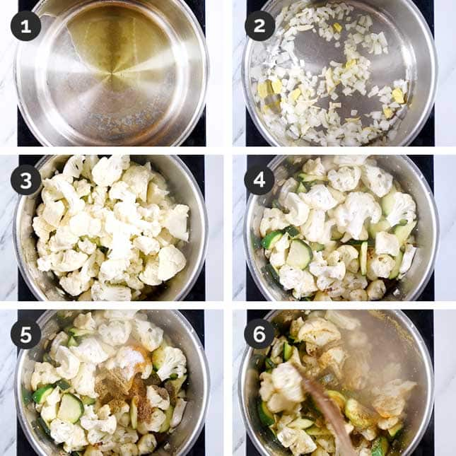 Step-by-step shots of the first steps of how to make vegetable curry