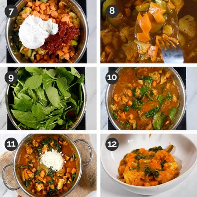 Step-by-step shots of the last steps of how to make vegetable curry