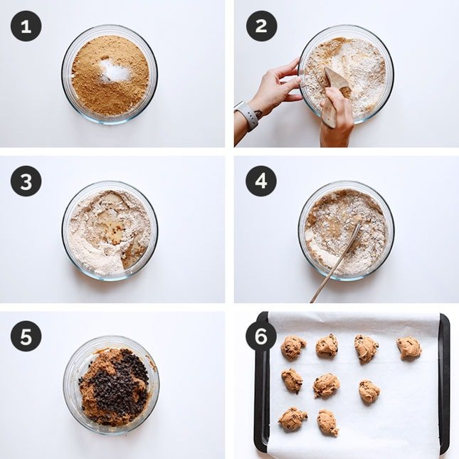Step by step photos of how to make vegan chocolate chip cookies