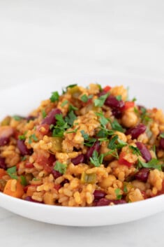 Picture of a dish with homemade vegan jambalaya topped with chopped parsley