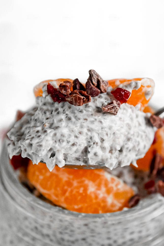 Close-up photo of a spoonful of chia pudding