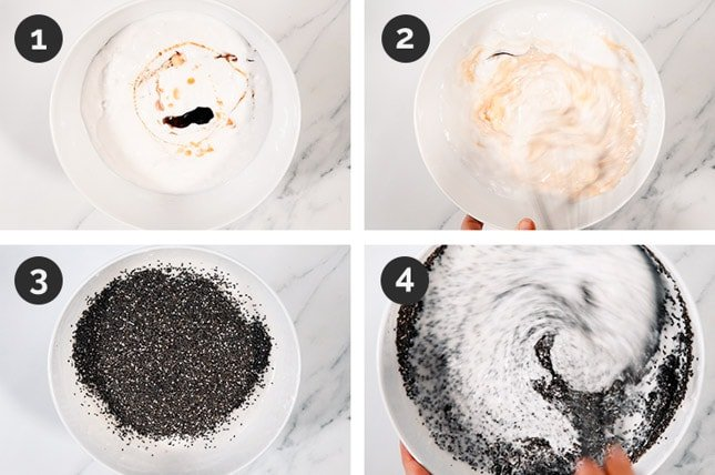 Step-by-step photos of how to make chia pudding