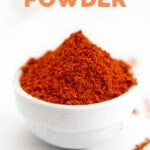 Photo of a bowl of chili powder with the words chili powder