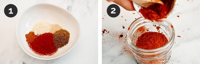Step-by-step photos of how to make chili powder