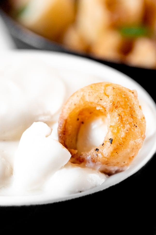 Close-up shot of a bowl of hearts of palm calamari