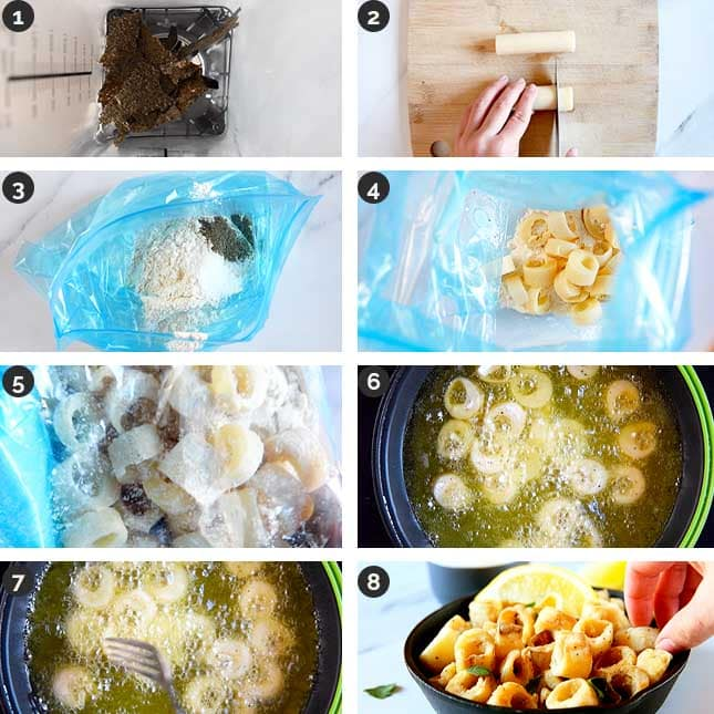 Step-by-step photos of how to make hearts of palm calamari