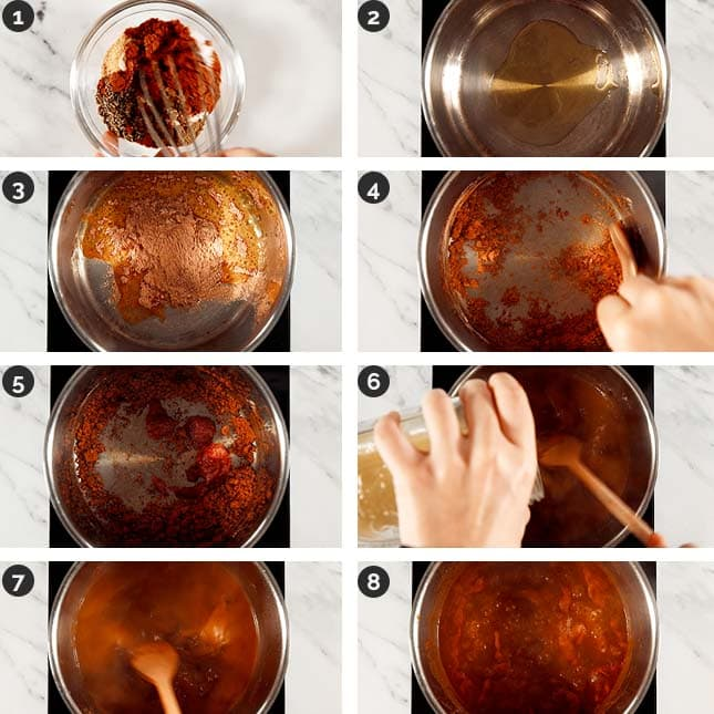 Step-by-step photos of how to make red enchilada sauce