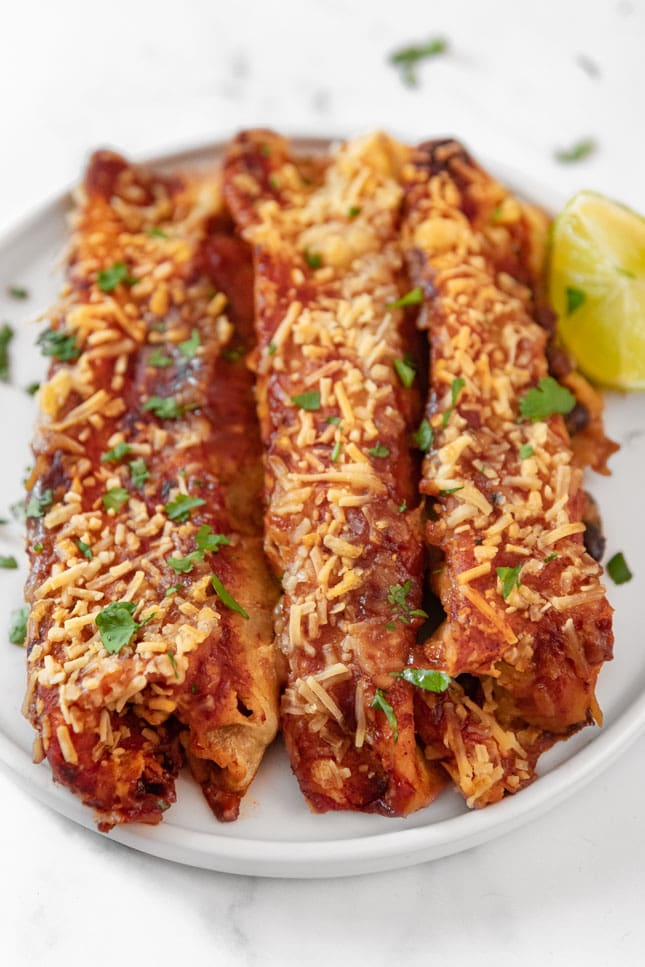 Photo of a plate of vegan enchiladas